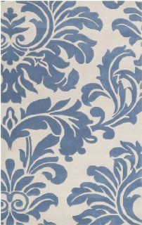10' x 14' Falling Leaves Damask Slate Blue and Off White Wool Area Throw Rug   Hand Tufted Rugs