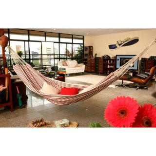 Large Roja Stripe Hand Woven Brazilian Fabric Hammock   Hammocks