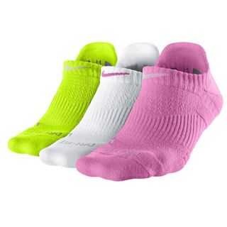 Nike 3 Pack Dri Fit Cush No Show Socks   Womens   Training   Accessories   Volt/White/Red Violet