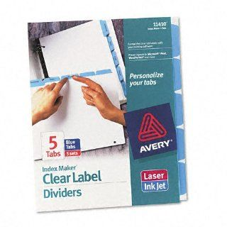 Avery   Index Maker Dividers with Color Tabs, Blue Five Tab, Letter, Five Sets per Pack   Pack of 6  Binder Index Dividers
