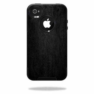 MightySkins Protective Vinyl Skin Decal Cover for OtterBox Commuter iPhone 4 Case Cell Phone Sticker Skins Black Leather Cell Phones & Accessories