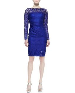 Womens Long Sleeve Lace Cocktail Dress, Royal   David Meister   Royal (4)