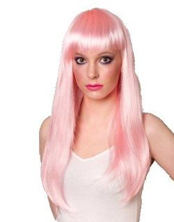 Long Baby Pink Light Pink Ladies Wig with Fringe   Premium Quality Synthetic Hair  Beauty