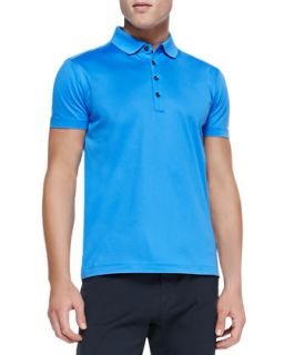Mens Mercerized Knit Polo, Bright Blue   Boss Hugo Boss   Blue (MEDIUM)