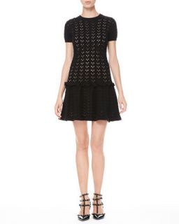 Womens Laser Cut Drop Waist Dress   RED Valentino   Black ecru (L/6)
