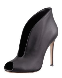 Flared Split Front Peep Toe Ankle Boot, Black   Gianvito Rossi   Black (38.5B/8.