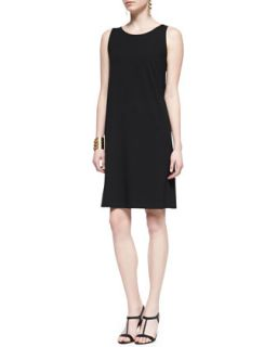 Womens Sleeveless Jersey Shift Dress, Black, Petite   Eileen Fisher   Black