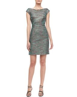 Womens Beaded Neck Tweed Dress   Laundry by Shelli Segal   Emerald multi (2)