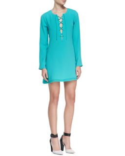 Womens Markie Lace Up Front Long Sleeve Dress   Ramy Brook   Baltic (SMALL)