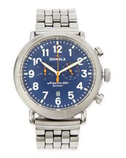 47mm Runwell Mens Chronograph Watch, Stainless Steel/Blue Dial   Shinola