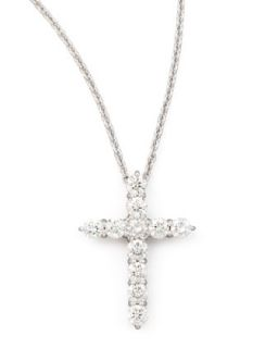18 White Gold Diamond Cross Pendant Necklace, 1.44ct   Roberto Coin   White