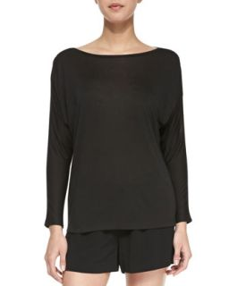Womens Long Sleeve Mesh Top, Black   Vince   Black (PETITE)