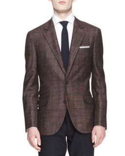 Mens Two Button Check Jacket   Brunello Cucinelli   Brown (50)