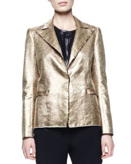 Womens Matte Metallic Basketweave Jacket, Gold   Lanvin   Gold (36/4)