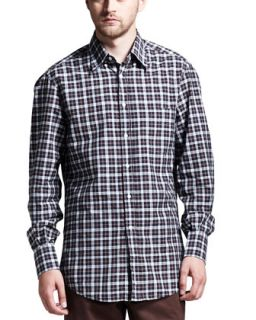 Mens Multi Check Basic Long Sleeve Shirt, Brown   Brunello Cucinelli   Blue/
