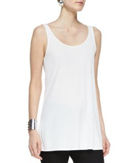 Womens Long Silk Scoop Neck Tunic Tank, Petite   Eileen Fisher   Soft white