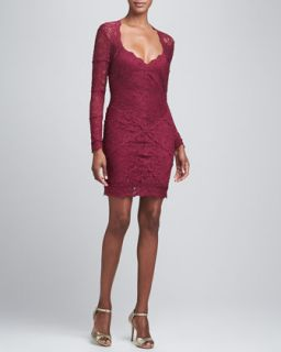 Womens Long Sleeve Open Back Lace Cocktail Dress   Nicole Miller