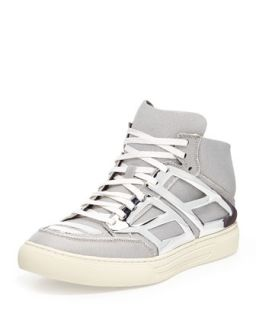 Mens Iridescent Metallic Plate High Top   Alejandro Ingelmo   Silver (8.0D)
