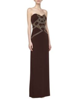 Womens Strapless Beaded Bodice Gown   Badgley Mischka   Chocolate (6)