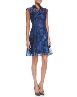 Womens Cap Sleeve Button Front Lace Overlay Cocktail Dress   Kay Unger New