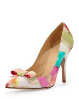 lillia floral print silk bow pump   kate spade new york   Giverny floral (38.