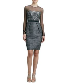 Womens Long Sleeve Cocktail Dress with Lace Bodice   Carmen Marc Valvo