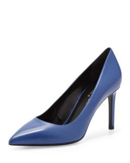 Paris Mid Heel Pointed Toe Calfskin Pump, Blue   Saint Laurent   Blue (37.0B/7.