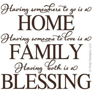 Having Somewhere to Go Home, Family Love Quote Vinyl Wall Decal Sticker Art, Home Decor
