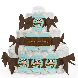 Owl   Look Whooo's Having A Baby   3 Tier Personalized Square   Baby Shower Diaper Cake Health & Personal Care