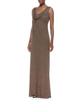 Womens Sleeveless Draped Neck Metallic Lace Gown   David Meister   Gold brown