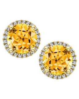 Grace 18k Gold Citrine & Diamond Earrings   Kiki McDonough   Gold (18k )