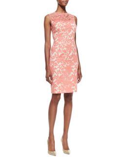Womens Sleeveless Floral Lace Sheath Dress   Kay Unger New York   Coral (12)