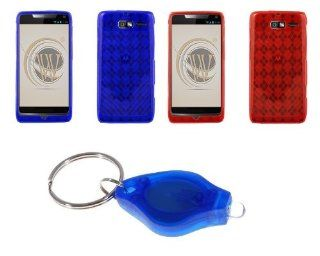 Motorola Droid Razr M XT907 (Verizon) Two Argyle Checker TPU Gel Cases (Blue, Red) + Atom LED Keychain Light Cell Phones & Accessories