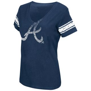 G III Womens Atlanta Braves Football Logo V Neck Short Sleeve T Shirt   Size