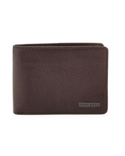 Mens Logo Clip Leather Wallet, Brown   Boss Hugo Boss   Brown