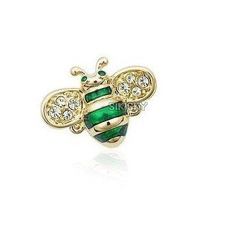 Austrian white crystal with Swarovski Elements 18k gold plated green animal bumble bee brooches pin jewelry Jewelry