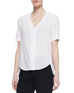 Womens Napala Short Sleeve Blouse   Theory   White (SMALL)