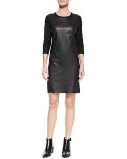 Womens Leather Paneled Long Sleeve Wool Dress   Vince   Black (PETITE)