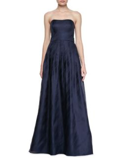 Womens Strapless Pleated Skirt Gown, Navy   Kay Unger New York   Navy (14)