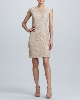 Womens Sequined Embroidered Cocktail Dress   Sue Wong   Beige (4)
