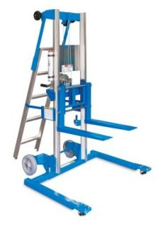 "Genie Lift, GL  10, Straddle Base with Ladder, Heavy Duty Aluminum Manual Lift, 350 lbs Load Capacity, Lift Height 11' 8"" from Ground Level Material Lifts"