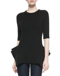 Womens Ribbed Knit Peplum Sweater, Black   Black (MEDIUM)