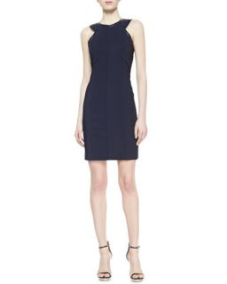 Womens Sleeveless Sheath Dress with Leather Piping   J. Mendel   Navy (6)
