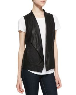 Womens Soft Leather Open Front Vest, Black   Cusp by    Black (XS)