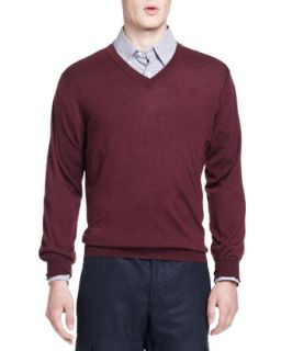 Mens Wool/Cashmere V Neck Sweater, Syrah   Brunello Cucinelli   Syrah (M/50)