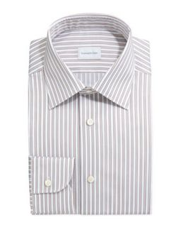 Mens Framed Stripe Dress Shirt, Tan/Light Blue   Ermenegildo Zegna   Tan (16