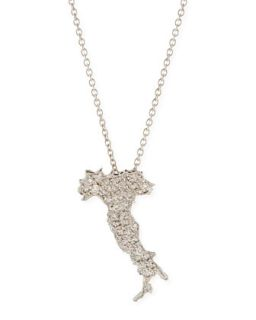 18k White Gold & Diamond Boot of Italy Necklace   Roberto Coin   White gold