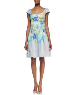 Womens Cap Sleeve Floral Print Cocktail Dress   Kay Unger New York   Green
