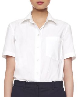 Womens Poplin Cotton Short Sleeve Blouse   Michael Kors   White (2)