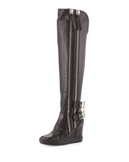 Double Zip & Buckle Knee High Boot, Black   Giuseppe Zanotti   Nero (40.5B/10.